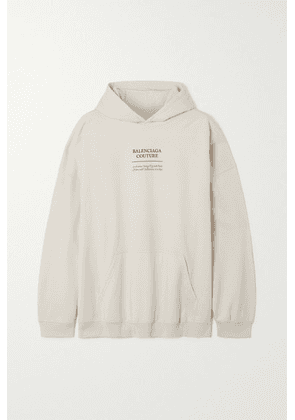 Balenciaga - Oversized Embroidered Jersey Hoodie - White