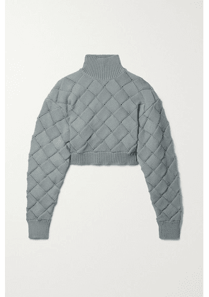 Hervé Léger - Cropped Knitted Turtleneck Sweater - Gray