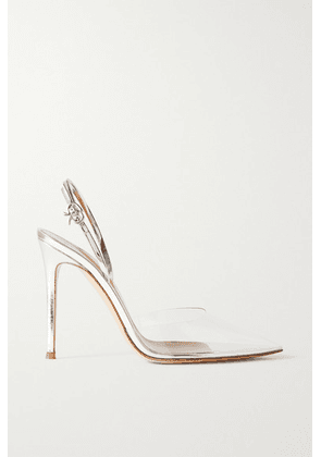 Gianvito Rossi - Ribbon 105 Metallic Leather And Pvc Slingback Pumps - Silver