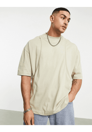 ASOS DESIGN oversized double layer t-shirt in washed khaki-Green