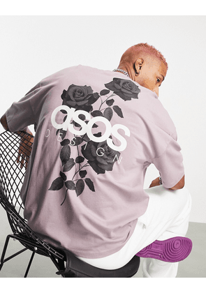 ASOS Design oversized t-shirt with logo graphic print in quail-Purple
