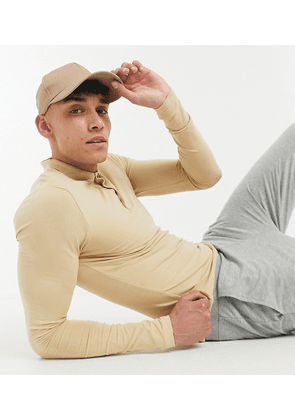 ASOS DESIGN Tall organic long sleeve muscle fit polo in beige-Neutral