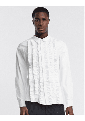 ASOS DESIGN regular fit shirt with extreme ruffle front in white