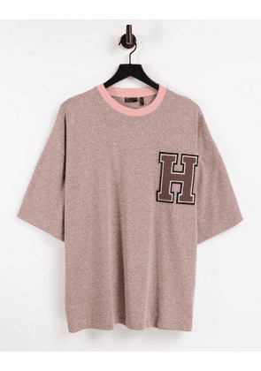 ASOS DESIGN oversized t-shirt in heavyweight pink marl with chest badge