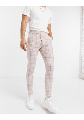 ASOS DESIGN super skinny suit trousers in pink slubby check