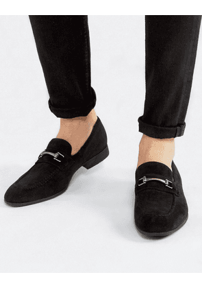 ASOS DESIGN loafers in black faux suede with snaffle detail-Grey