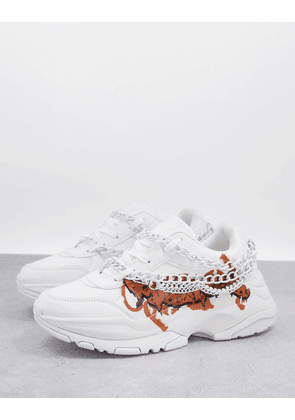 ASOS DESIGN chunky trainers in white with chains