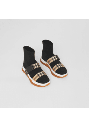 Burberry Childrens Buckled Strap Stretch Knit Sock Sneakers