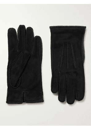 Loro Piana - Damon Baby Cashmere-Lined Suede Gloves - Men - Black - S