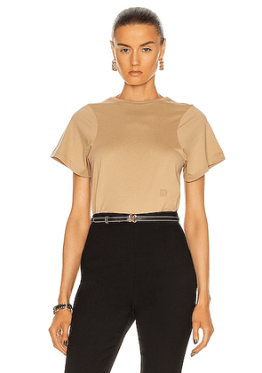 Toteme Curved Seam Tee in Beige - Brown,Neutral. Size M (also in XS).