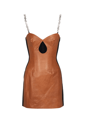 Leather and cady minidress