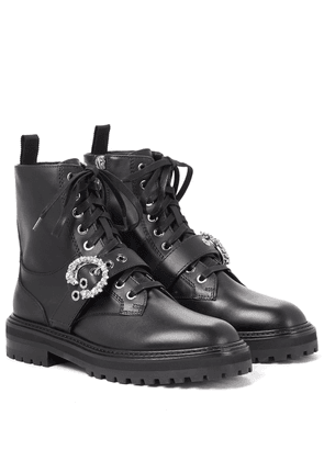 Cora leather combat boots