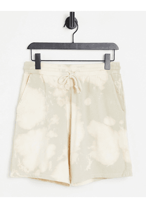 ASOS DESIGN co-ord oversized shorts in beige bleach wash-Neutral