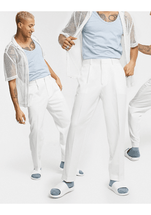 ASOS DESIGN tapered smart trousers in white
