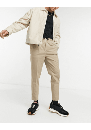 ASOS DESIGN tapered smart jogger with half elasticated waist-Neutral