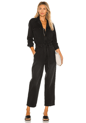 MOTHER The Belted Fixer Jumpsuit in Black. Size XS.