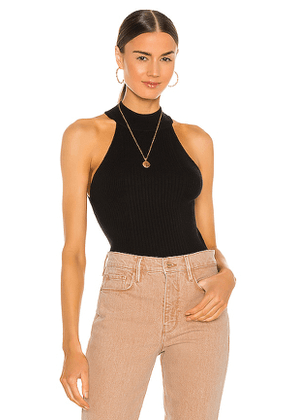 FRAME Luxe Halter Sweater Top in Black. Size XS.