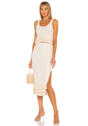 SAYLOR Staunton Skirt And Tank Set in Cream. Size S, L.
