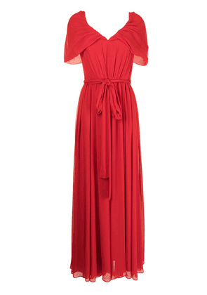 Badgley Mischka pleated V-neck gown - Red