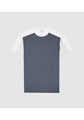 Reiss Herts - Mercerised Colour Block T-shirt in Airforce Blue/W, Mens, Size XS