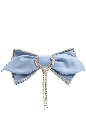 Faux Leather & Crystal Fringe Hair Bow