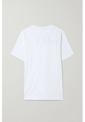 Chloé - Broderie Anglaise-trimmed Cotton-jersey T-shirt - White