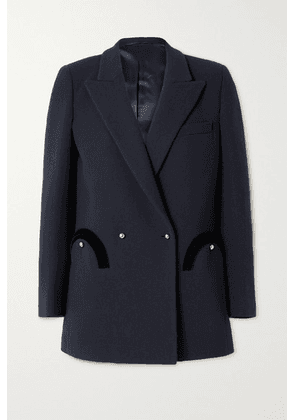 Blazé Milano - Resolute Everyday Double-breasted Velvet-trimmed Wool-crepe Blazer - Navy