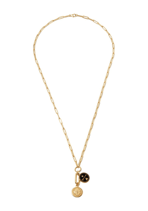 Foundrae 18kt yellow gold dream and strength pendant necklace