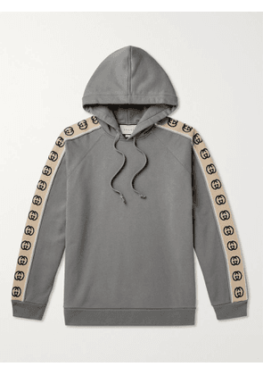Gucci - Oversized Webbing-Trimmed Loopback Cotton-Jersey Hoodie - Men - Gray - XS
