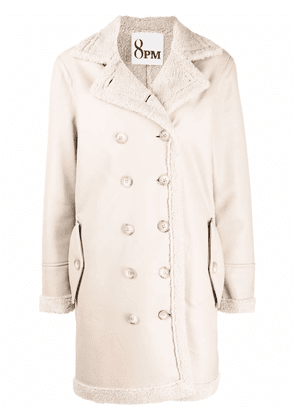 8pm faux-shearling lined coat - Neutrals