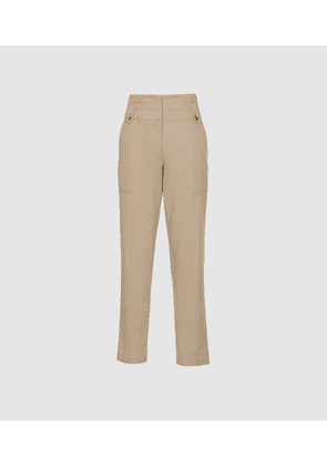Reiss Bradie - Cotton Tapered Cargo Trousers in Stone, Womens, Size 10