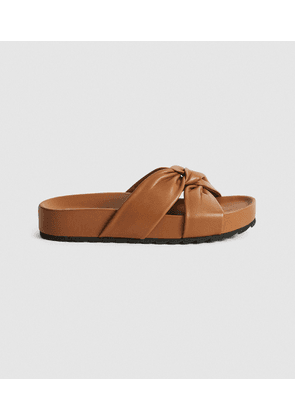 Reiss Phoebe - Leather Twist Front Sandals in Tan, Womens, Size 4