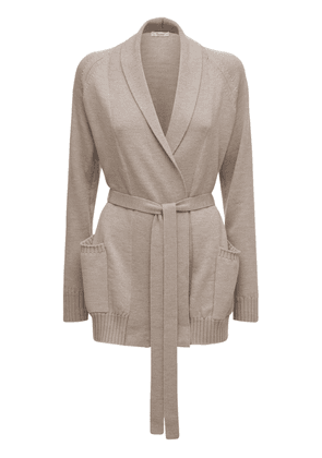 Wool Knit Long Belted Cardigan