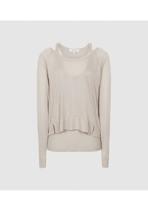 Reiss Ada - Fine Jersey Double Layer Top in Neutral, Womens, Size M