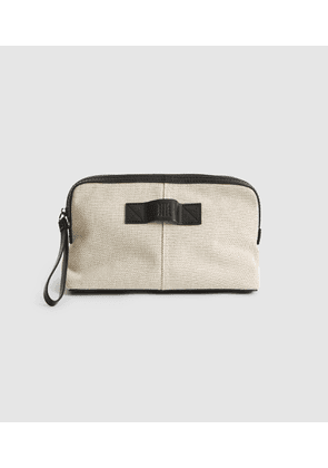 Reiss Albion - Canvas Washbag in Off White, Womens
