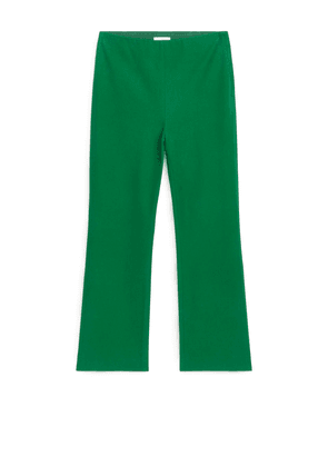 Kick Flare Cotton Stretch Trousers - Green