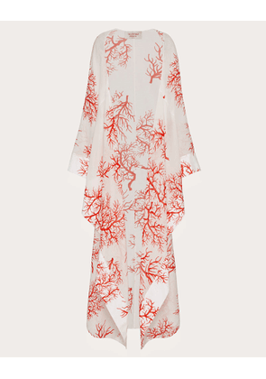 Valentino Long Printed Voile Cape Women Ivory/coral Silk 27%, Cotton 73% 38