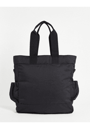 ASOS DESIGN backpack tote hybrid bag in black nylon with double pockets