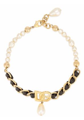 Dolce & Gabbana drop pearl chain necklace - Gold