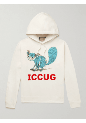 Gucci - Printed Cotton-Jersey Hoodie - Men - White - S