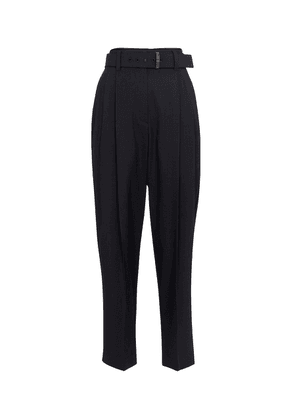 Stretch wool-blend tapered pants