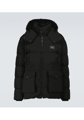 Down-padded hooded jacket