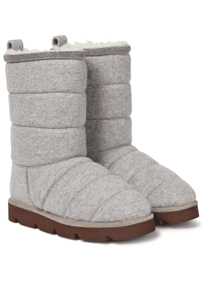 Quilted shearling-lined snow boots
