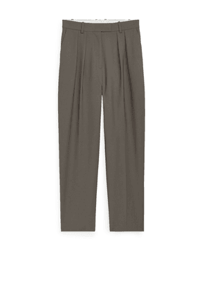 Tapered High-Waist Trousers - Beige