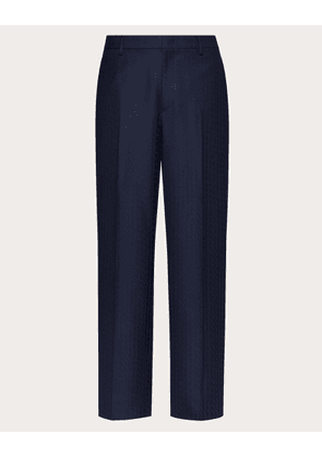 Valentino Uomo Straight Fit Pants With All-over Vltn Times Print Man Blue/black 100% Wool 44