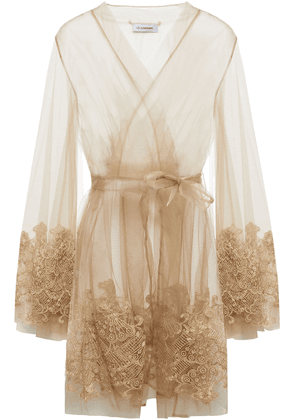 I.d. Sarrieri Metallic Embroidered Stretch-tulle Robe Woman Neutral Size 3