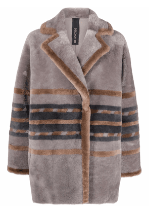 Blancha striped double-breasted coat - Grey