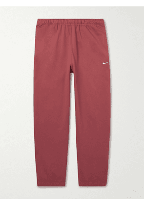 Nike - NRG Tapered Logo-Embroidered Cotton-Blend Jersey Sweatpants - Men - Red - XS