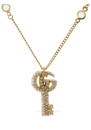 Double G Key Necklace W/ Crystals