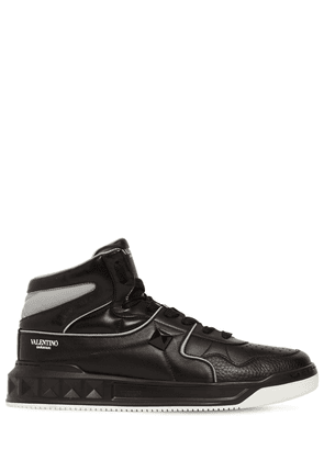 High-top Leather Sneakers W/studs